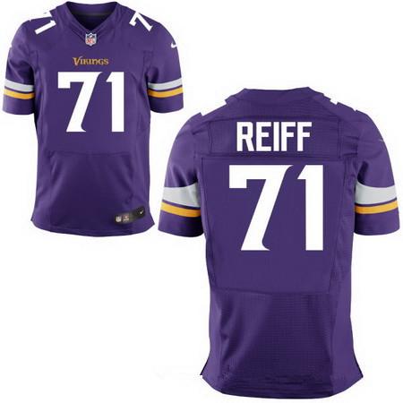 00b98d898 Men s Minnesota Vikings  71 Riley Reiff Purple Team Color Stitched NFL Nike  Elite Jersey