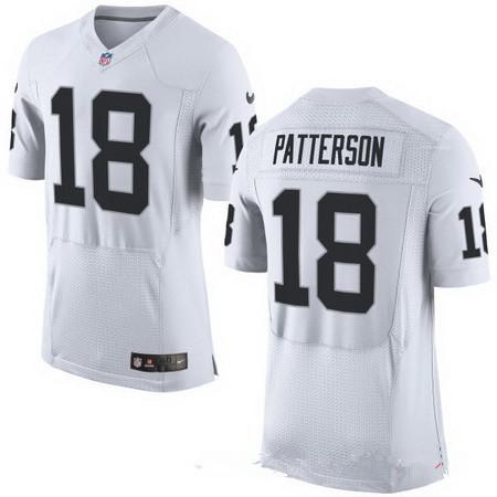 ID94758 Men\'s Oakland Raiders #18 Cordarrelle Patterson White Road Stitched NFL Nike Elite Jersey