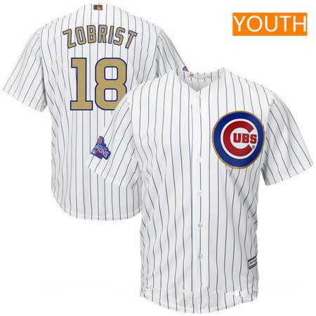 Youth Chicago Cubs #18 Ben Zobrist White World Series Champions Gold Stitched MLB Majestic 2017 Cool Base Jersey