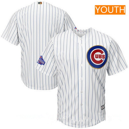 Youth Chicago Cubs Blank White World Series Champions Gold Stitched MLB Majestic 2017 Cool Base Jersey