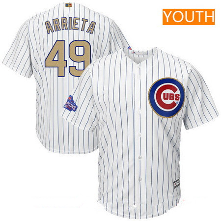 Youth Chicago Cubs #49 Jake Arrieta White World Series Champions Gold Stitched MLB Majestic 2017 Cool Base Jersey