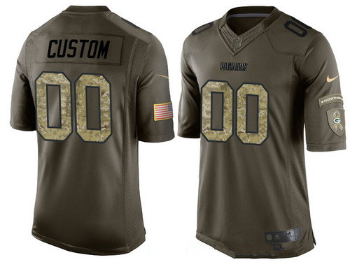 ID94670 Men\'s Green Bay Packers Custom Olive Camo Salute To Service Veterans Day NFL Nike Limited Jersey
