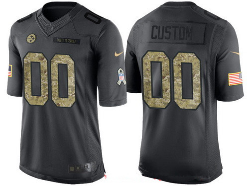 Men's Pittsburgh Steelers Custom Anthracite Camo 2016 Salute To Service Veterans Day NFL Nike Limited Jersey