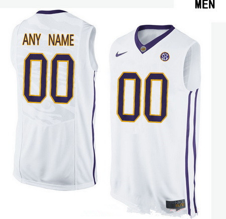 16d93373e52 Men s LSU Tigers Custom College Basketball Nike Elite Jersey - White