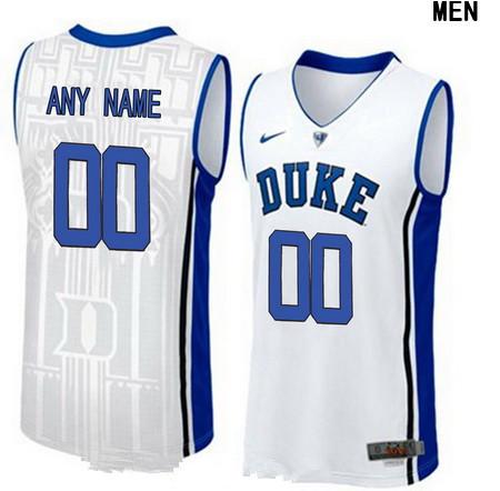 Youth Duke Blue Devils Custom V-neck College Basketball Nike Elite Jersey - White
