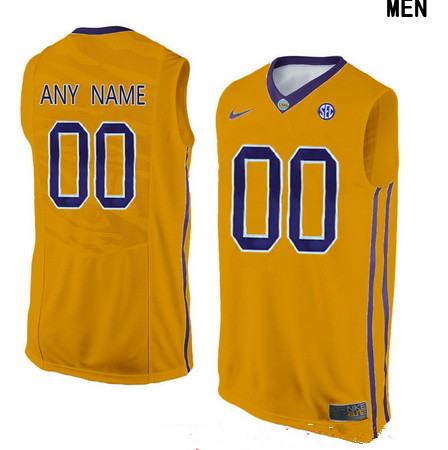 Youth LSU Tigers Custom College Basketball Nike Elite Jersey - Gold