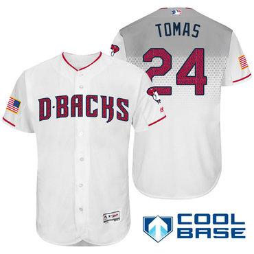 Men's Arizona Diamondbacks #24 Yasmany Tomas White Stars & Stripes Fashion Independence Day Stitched MLB Majestic Cool Base Jersey