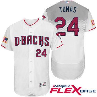 Men's Arizona Diamondbacks #24 Yasmany Tomas White Stars & Stripes Fashion Independence Day Stitched MLB Majestic Flex Base Jersey