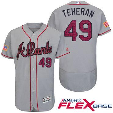 88668dc8 Men's Atlanta Braves #49 Julio Teheran Gray Stars & Stripes Fashion ...
