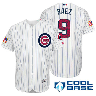 42f0be238fc ... 2016 Mothers Day Fashion Flex Base Mens Chicago Cubs 9 Javier Baez White  Stars Stripes Fashion Independence Day Stitched MLB Majestic Cool Authentic  ...