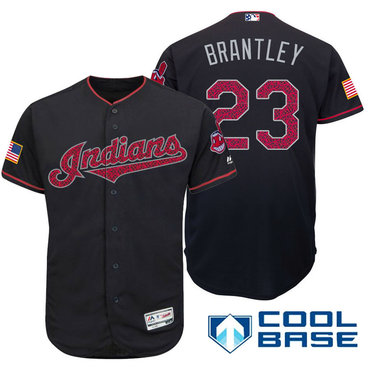 a4d10123de2 Men s Cleveland Indians  23 Michael Brantley Navy Blue Stars   Stripes  Fashion Independence Day Stitched MLB Majestic Cool Base Jersey