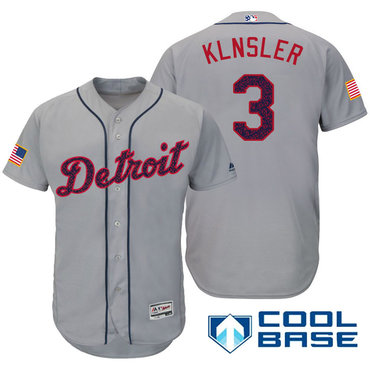 Men's Detroit Tigers #3 Ian Klnsler Gray Stars & Stripes Fashion Independence Day Stitched MLB Majestic Cool Base Jersey