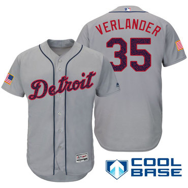 Men's Detroit Tigers #35 Justin Verlander Gray Stars & Stripes Fashion Independence Day Stitched MLB Majestic Cool Base Jersey