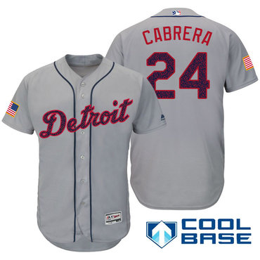 Men's Detroit Tigers #24 Miguel Cabrera Gray Stars & Stripes Fashion Independence Day Stitched MLB Majestic Cool Base Jersey