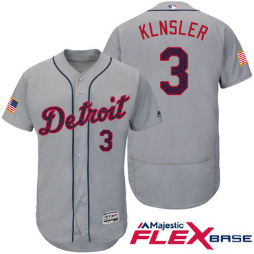 Men's Detroit Tigers #3 Ian Klnsler Gray Stars & Stripes Fashion Independence Day Stitched MLB Majestic Flex Base Jersey