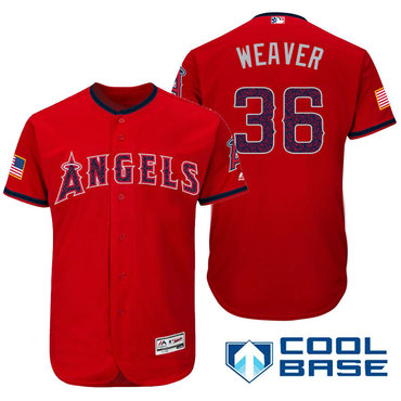 67d2fb59 Men's Los Angeles Angels Of Anaheim #36 Jered Weaver Red Stars & Stripes  Fashion Independence