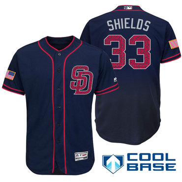 Men's San Diego Padres #33 James Shields Navy Blue Stars & Stripes Fashion Independence Day Stitched MLB Majestic Cool Base Jersey
