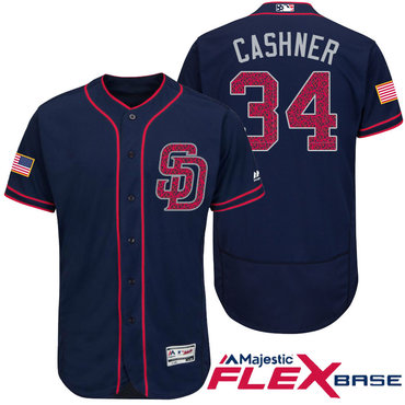 Men's San Diego Padres #34 Andrew Cashner Navy Blue Stars & Stripes Fashion Independence Day Stitched MLB Majestic Flex Base Jersey