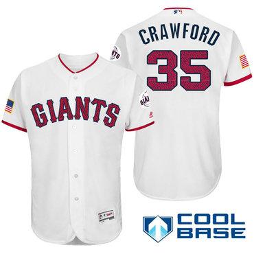 flex base grey authentic mens san francisco giants 35 brandon crawford white stars stripes fashion i