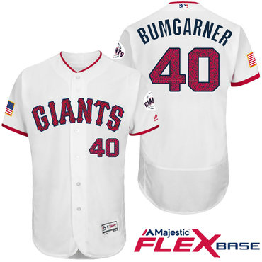 Men's San Francisco Giants #8 Hunter Pence White Stars & Stripes Fashion Independence Day Stitched MLB Majestic Flex Base Jersey