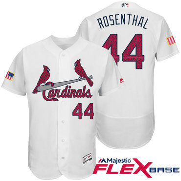 Men's St. Louis Cardinals #44 Trevor Rosenthal White Stars & Stripes Fashion Independence Day Stitched MLB Majestic Flex Base Jersey