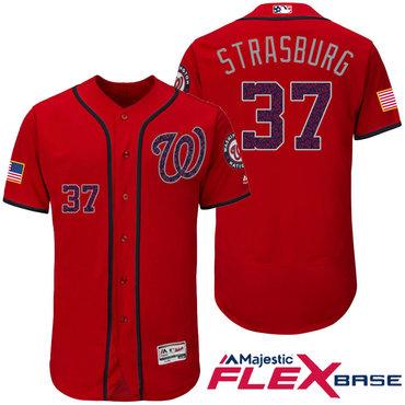 Men's Washington Nationals #37 Stephen Strasburg Red Stars & Stripes Fashion Independence Day Stitched MLB Majestic Flex Base Jersey