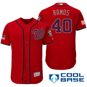 6a60e1b6c Men s Washington Nationals  40 Wilson Ramos Red Stars   Stripes Fashion  Independence Day Stitched MLB