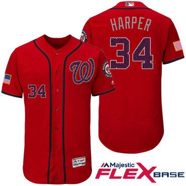 Men's Washington Nationals #34 Bryce Harper Red Stars & Stripes Fashion Independence Day Stitched MLB Majestic Flex Base Jersey