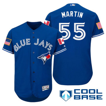Men's Toronto Blue Jays #55 Russell Martin Royal Blue Stars & Stripes Fashion Independence Day Stitched MLB Majestic Cool Base Jersey