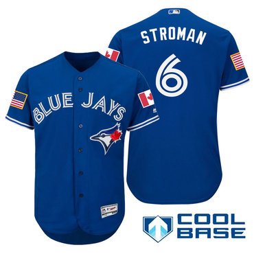 Men's Toronto Blue Jays #6 Marcus Stroman Royal Blue Stars & Stripes Fashion Independence Day Stitched MLB Majestic Cool Base Jersey