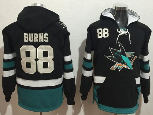 Men's San Jose Sharks #88 Brent Burns NEW Black Stitched NHL Old Time Hockey Hoodie
