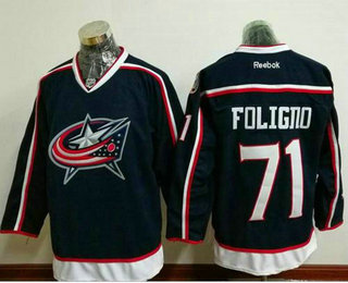 Men's Columbus Blue Jackets #71 Nick Foligno Navy Blue Home Stitched NHL Reebok Hockey Jersey