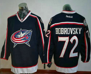 Men's Columbus Blue Jackets #72 Sergei Bobrovsky Navy Blue Home Stitched NHL Reebok Hockey Jersey