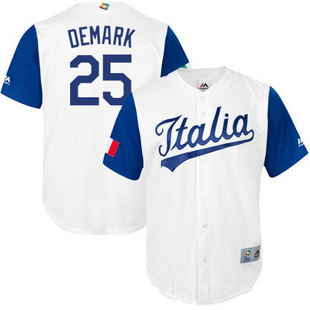 Men's Team Italy Baseball Majestic #25 Mike DeMark White 2017 World Baseball Classic Stitched Authentic Jersey