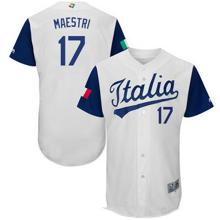 Men's Team Italy Baseball Majestic #30 A.J. Morris White 2017 World Baseball Classic Stitched Authentic Jersey