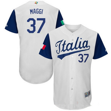 Men's Team Italy Baseball Majestic #7 John Andreoli White 2017 World Baseball Classic Stitched Authentic Jersey
