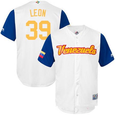 Men's Team Venezuela Baseball Majestic #39 Arcenio Leon White 2017 World Baseball Classic Stitched Replica Jersey