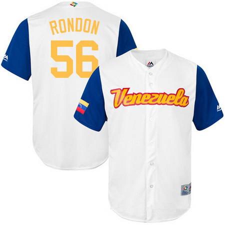 Men's Team Venezuela Baseball Majestic #56 Hector Rondon White 2017 World Baseball Classic Stitched Replica Jersey