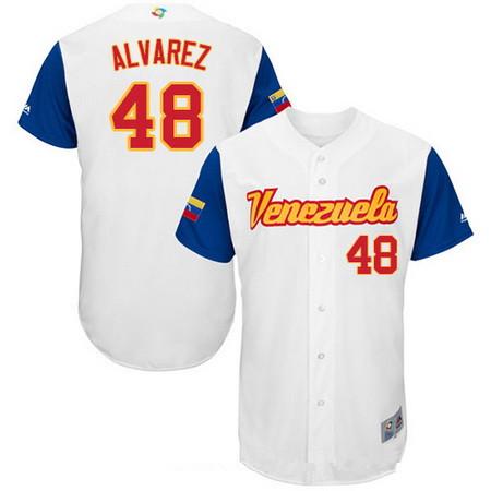 Men's Team Venezuela Baseball Majestic #48 Jose Alvarez White 2017 World Baseball Classic Stitched Authentic Jersey