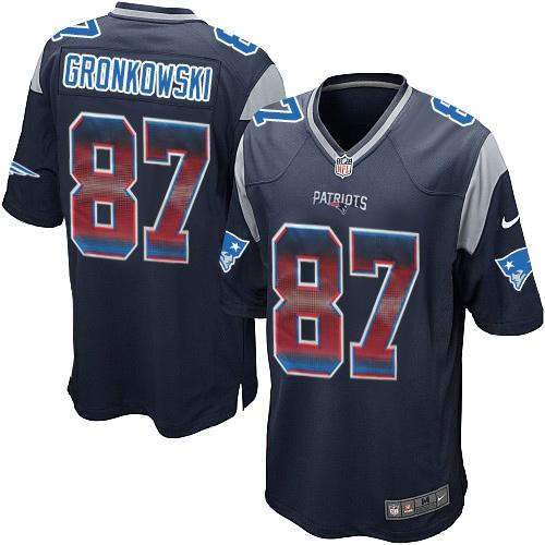 ID94597 Nike Patriots #87 Rob Gronkowski Navy Blue Team Color Men\'s Stitched NFL Limited Strobe Jersey