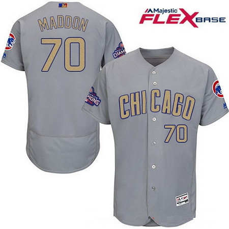 21b70aff237 Men s Chicago Cubs  70 Joe Maddon Gray World Series Champions Gold Stitched MLB  Majestic 2017