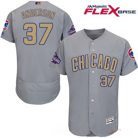 4128eac61 Men s Chicago Cubs  37 Brett Anderson Gray 2017 Gold Champion Flexbase  Authentic Collection MLB Jersey