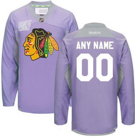 Men's Chicago Blackhawks Purple Pink Custom Reebok Hockey Fights Cancer Practice Jersey