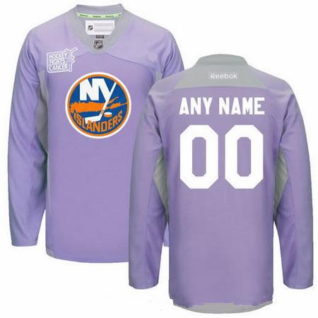 Men's New York Islanders Purple Pink Custom Reebok Hockey Fights Cancer Practice Jersey
