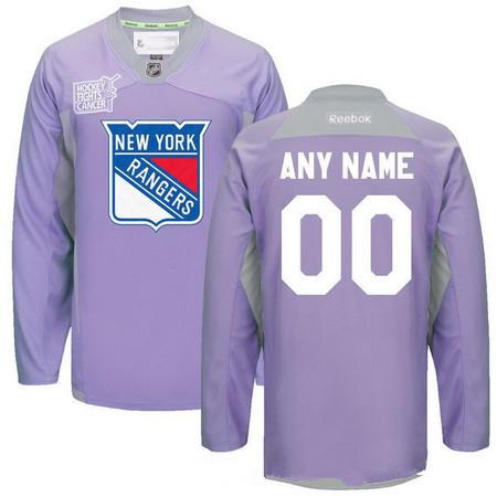 Men's New York Rangers Purple Pink Custom Reebok Hockey Fights Cancer Practice Jersey