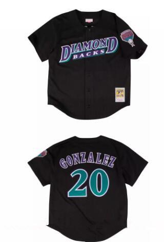 Men's Arizona Diamondbacks #20 Luis Gonzalez Black Mesh Batting Practice Throwback Stitched MLB Mitchell & Ness Jersey