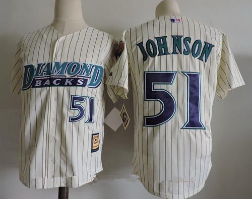 Men's Arizona Diamondbacks #51 Randy Johnson Cream 1999 Cooperstown Collection Stitched MLB Throwback Jersey