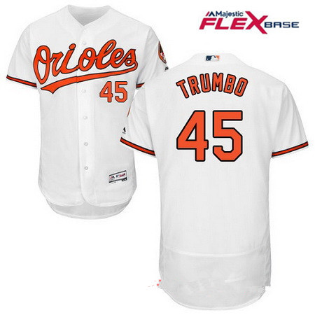 3a9adcdca Men s Baltimore Orioles  45 Mark Trumbo White Home Stitched MLB Majestic  Flex Base Jersey