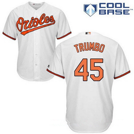 0789835bc86 Men s Baltimore Orioles  45 Mark Trumbo White Home Stitched MLB Majestic  Cool Base Jersey