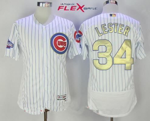 883a692068f Men s Chicago Cubs  34 Jon Lester White World Series Champions Gold  Stitched MLB Majestic 2017